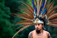 A member of the Aztec Dance Group as they perform traditional Native American Conchera dances at the Rock, Rattle and Drum Pow Wow at the base of Mt. Greylock in Lanesborough, Mass.