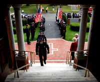 Pittsfield and Berkshire, Mass. police and fire departments enter St. Charles Church for mass after a ceremony at the Pittsfield Fire Department commemorating the 10th anniversary of the 9/11 attacks.